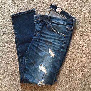 AG Stilt Cigarette Crop Destroyed Jeans